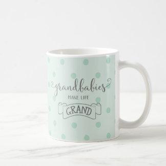 grandbabies make life grand typography coffee mug