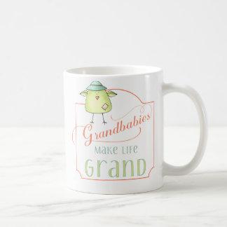 Grandbabies make life grand typography with photo coffee mug