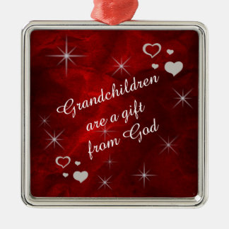 Grandchildren Are A Gift Keepsake Silver-Colored Square Ornament