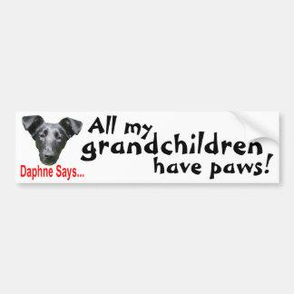 Grandchildren have paws bumper sticker