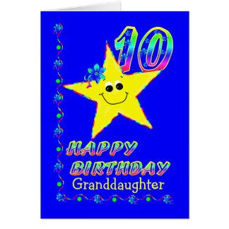 Granddaughter 10th Brithday Stars Card