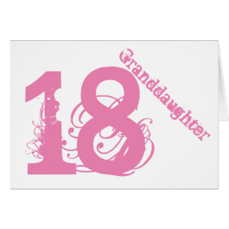 Granddaughter, 18th birthday, white and pink. card