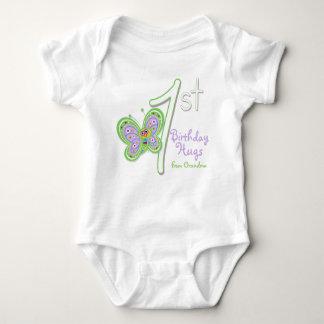 Granddaughter 1st Birthday Butterfly Hugs Baby Bodysuit