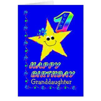 Granddaughter 1st Birthday Star Greeting Card