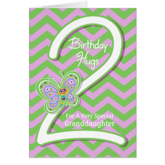 Granddaughter 2nd Birthday Butterfly Hugs Card