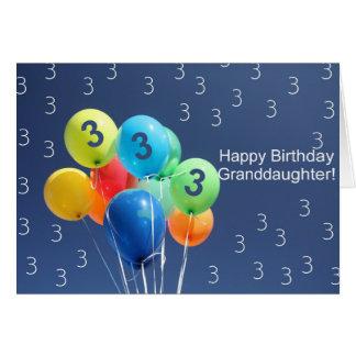 Granddaughter 3rd birthday balloons card
