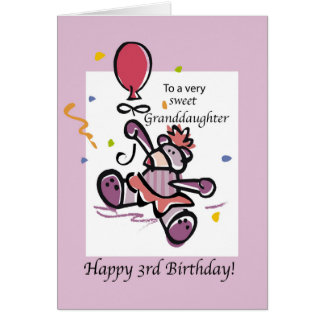 Granddaughter 3rd Birthday Bear Balloon Card