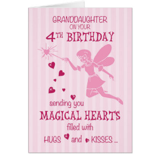 Granddaughter 4th Birthday Magical Fairy Pink Card
