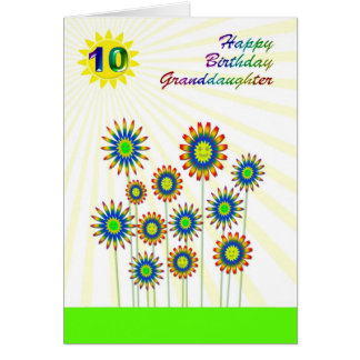 Granddaughter age 10, a happy flowers card