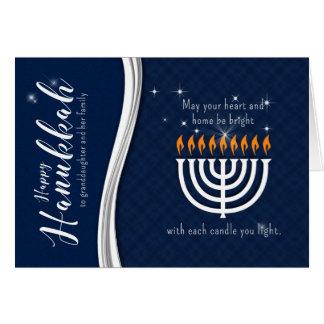 Granddaughter and Family Hanukkah Menorah Blue Card