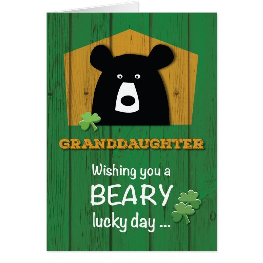 Granddaughter Bear & Shamrocks on St. Patrick's Card