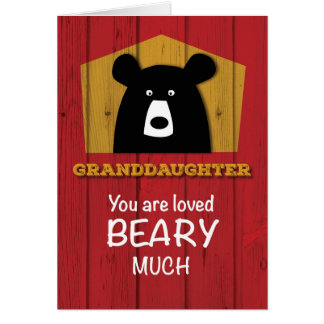 Granddaughter Bear Valentine Wishes on Red Wood Gr Card