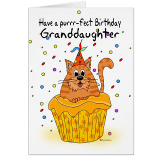 granddaughter birthday card with ginger cupcake ca