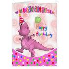 Granddaughter Birthday With Pink Dragon Soda Card