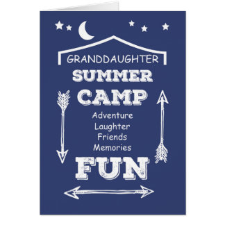 Granddaughter Camp Fun Navy Blue, Thinking of You Card