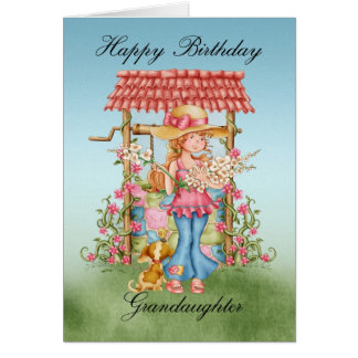 Granddaughter Cute Girl And Wishing Well Birthday Card