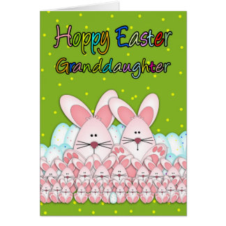 Granddaughter Easter Card With Easter Bunnies