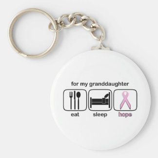 Granddaughter Eat Sleep Hope - Breast Cancer Basic Round Button Keychain