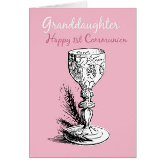 Granddaughter First Communion, Pink Card