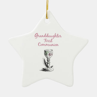 Granddaughter First Communion Pink, Chalice Ceramic Ornament