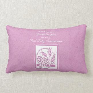 Granddaughter First Communion, Pink Lumbar Pillow