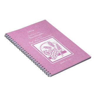 Granddaughter First Communion, Pink Notebooks