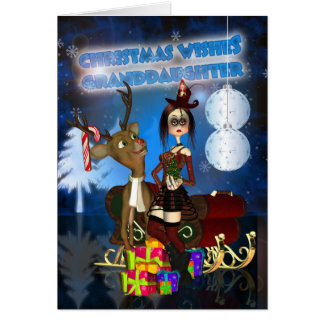 Granddaughter Gothic Christmas Card, H.I.P. And Re Card