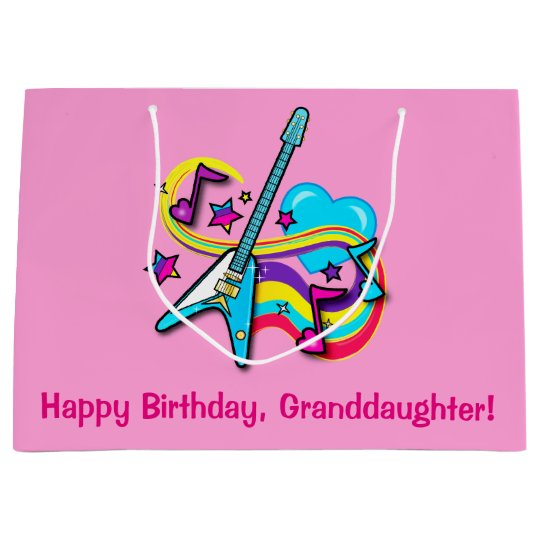 Granddaughter Happy Birthday Guitar, Hearts, Notes Large Gift Bag