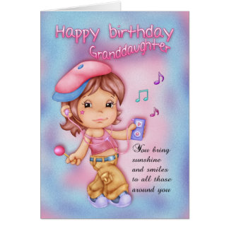 Granddaughter Happy Birthday Pink And Blue - Littl Card