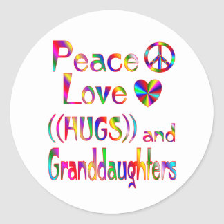 Granddaughter Hugs Classic Round Sticker