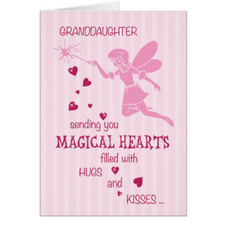 Granddaughter Magical Fairy Pink Valentine's Day Card