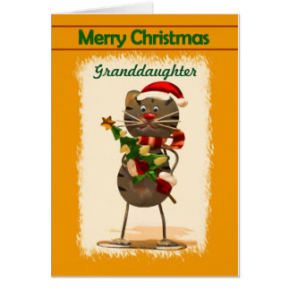 Granddaughter / Merry Christmas - Funky Cat Card