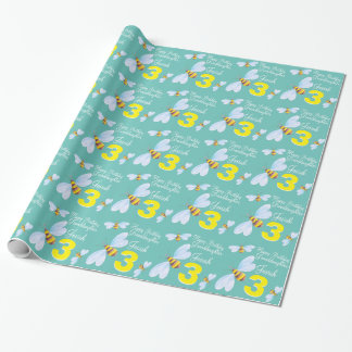 Granddaughter name bee 3rd  birthday wrap wrapping paper