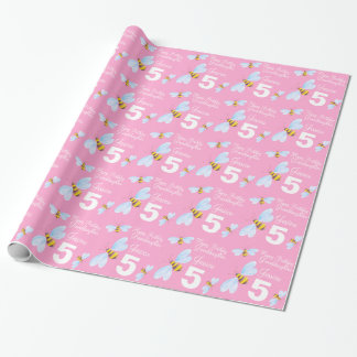 Granddaughter name bee 5th birthday wrap wrapping paper