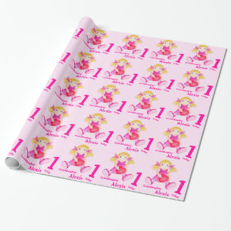 Granddaughter name rag doll art 1st birthday wrap wrapping paper