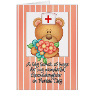 Granddaughter Nurses Day Card With Nurse Teddy Be