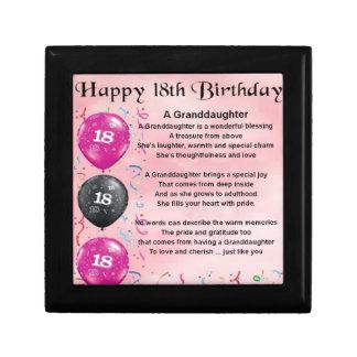 Granddaughter Poem - 18th Birthday Gift Box