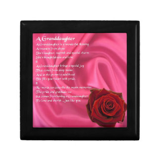 Granddaughter Poem - pink silk & rose Gift Box