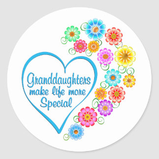 Granddaughter Special Heart Classic Round Sticker