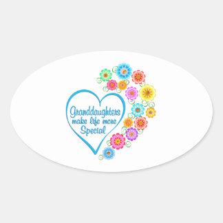 Granddaughter Special Heart Oval Sticker