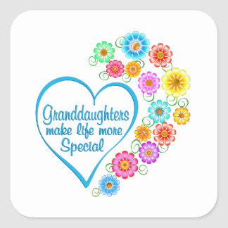 Granddaughter Special Heart Square Sticker