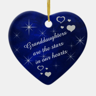 Granddaughter Star Heart Keepsake Ceramic Heart Ornament