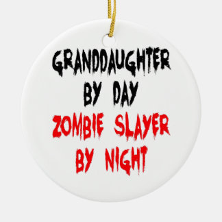 Granddaughter Zombie Joke Ceramic Ornament