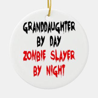 Granddaughter Zombie Joke Round Ceramic Ornament