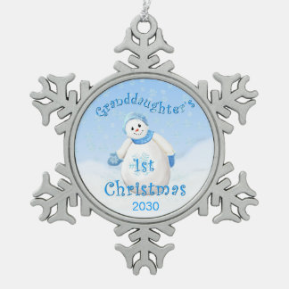 Granddaughter's 1st Christmas Snowman Pewter Snowflake Ornament