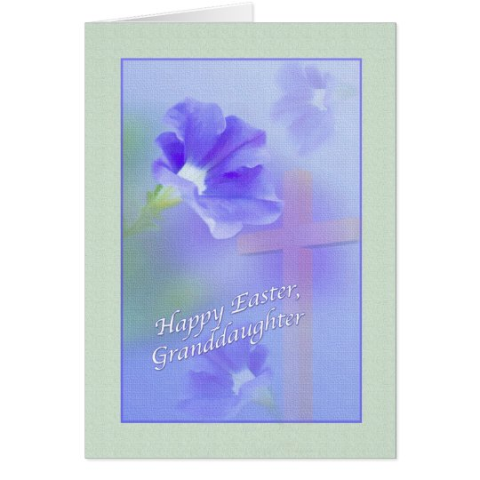 Granddaughter's Easter Card with Flowers and Cross
