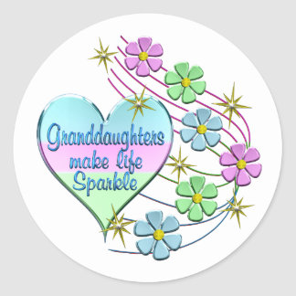 Granddaughters Make Life Sparkle Classic Round Sticker