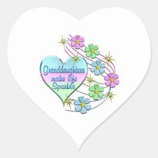 Granddaughters Make Life Sparkle Heart Sticker