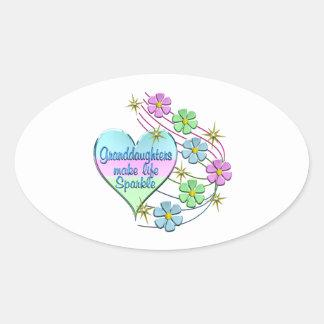 Granddaughters Make Life Sparkle Oval Sticker