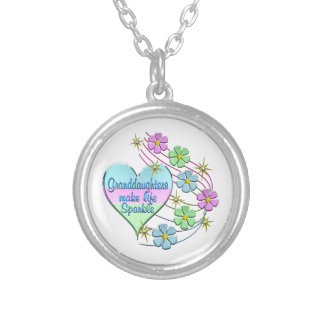 Granddaughters Make Life Sparkle Silver Plated Necklace